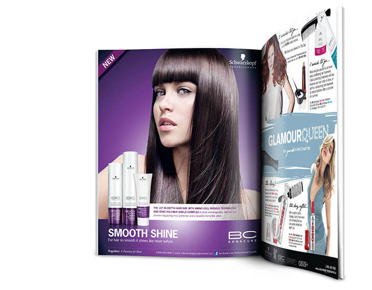 Advert spreads for Schwarzkopf Canada